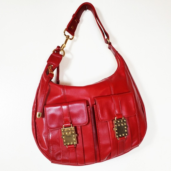 Badgley Mischka Handbags - Badgley Mischka Red Vintage Hobo Leather Bag NWOT